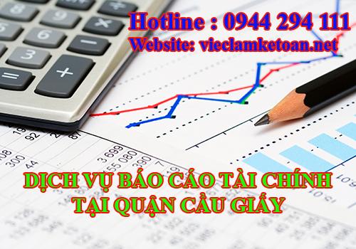 Dịch vụ báo cáo tài chính cuối năm tại cầu giấy