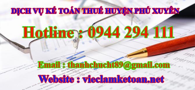 dịch vụ kế toán thuế Huyện phú xuyên
