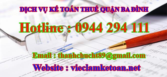 Dịch vụ kế toán thuế bán thời gian tại ba đình