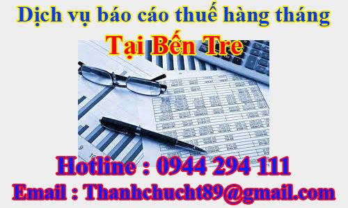 dịch vụ báo cáo thuế hàng tháng trọn gói giá rẻ tại bến tre