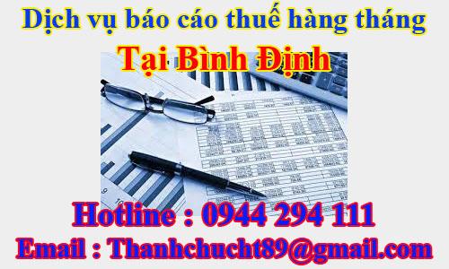 dịch vụ báo cáo thuế hàng tháng trọn gói giá rẻ tại bình định