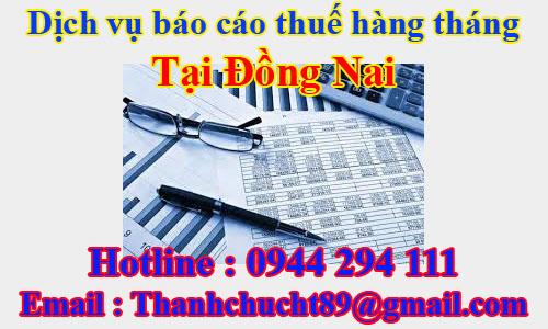 dịch vụ báo cáo thuế hàng tháng trọn gói giá rẻ tại đồng nai