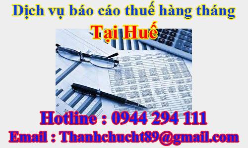 dịch vụ báo cáo thuế hàng tháng trọn gói giá rẻ tại huế