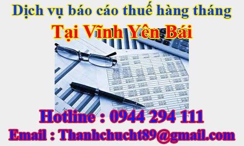 dịch vụ báo cáo thuế hàng tháng trọn gói giá rẻ tại yên bái